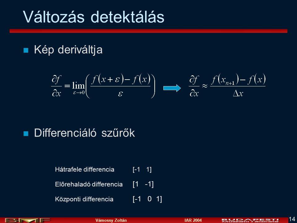 Változás detektálás Kép deriváltja Differenciáló szűrők [1 -1]